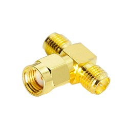 Picture of SMA Plug RP to 2 x SMA Jack RP T-Piece Adapter