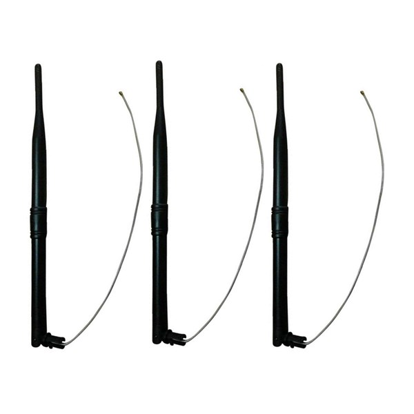 Picture of Set of 3 2,4GHz 7dBi WiFi Omni Antennas with Housing Clip and IPEX